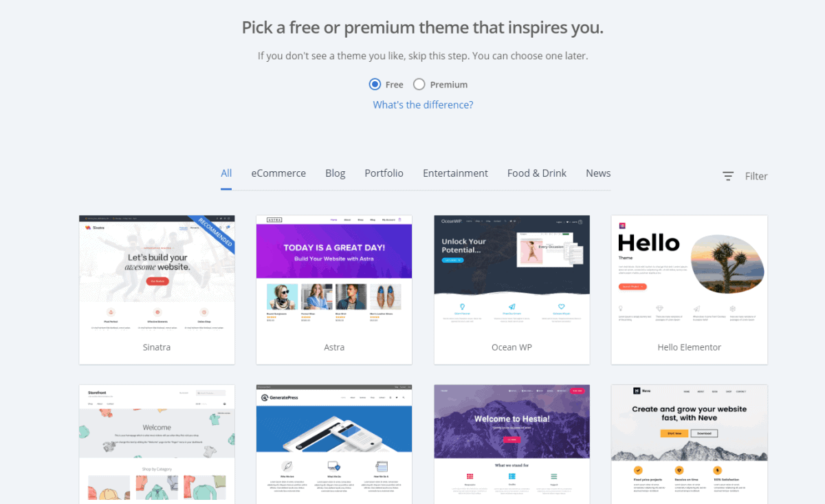 bluehost offers free or paid theme for website building