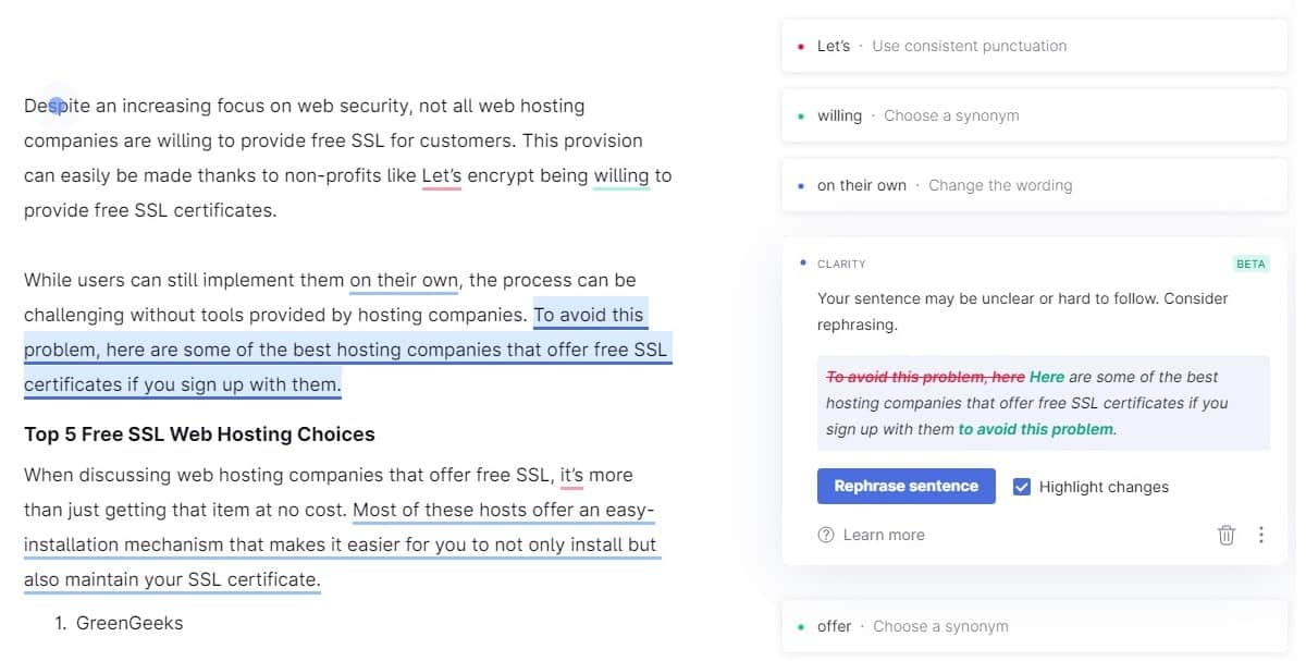 grammarly premium offering suggestions to rephrase a sentence