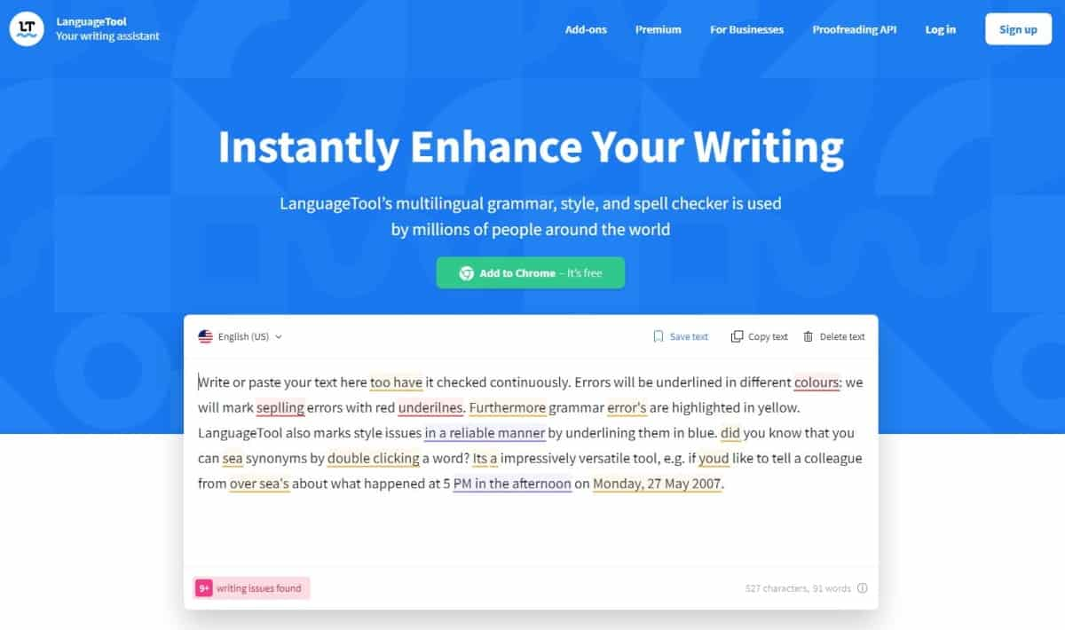 languagetool grammar checker website homepage