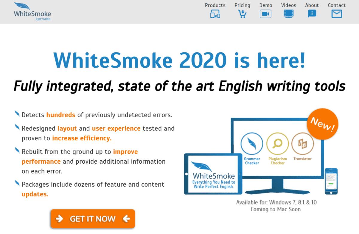 whitesmoke grammar checker website homepage