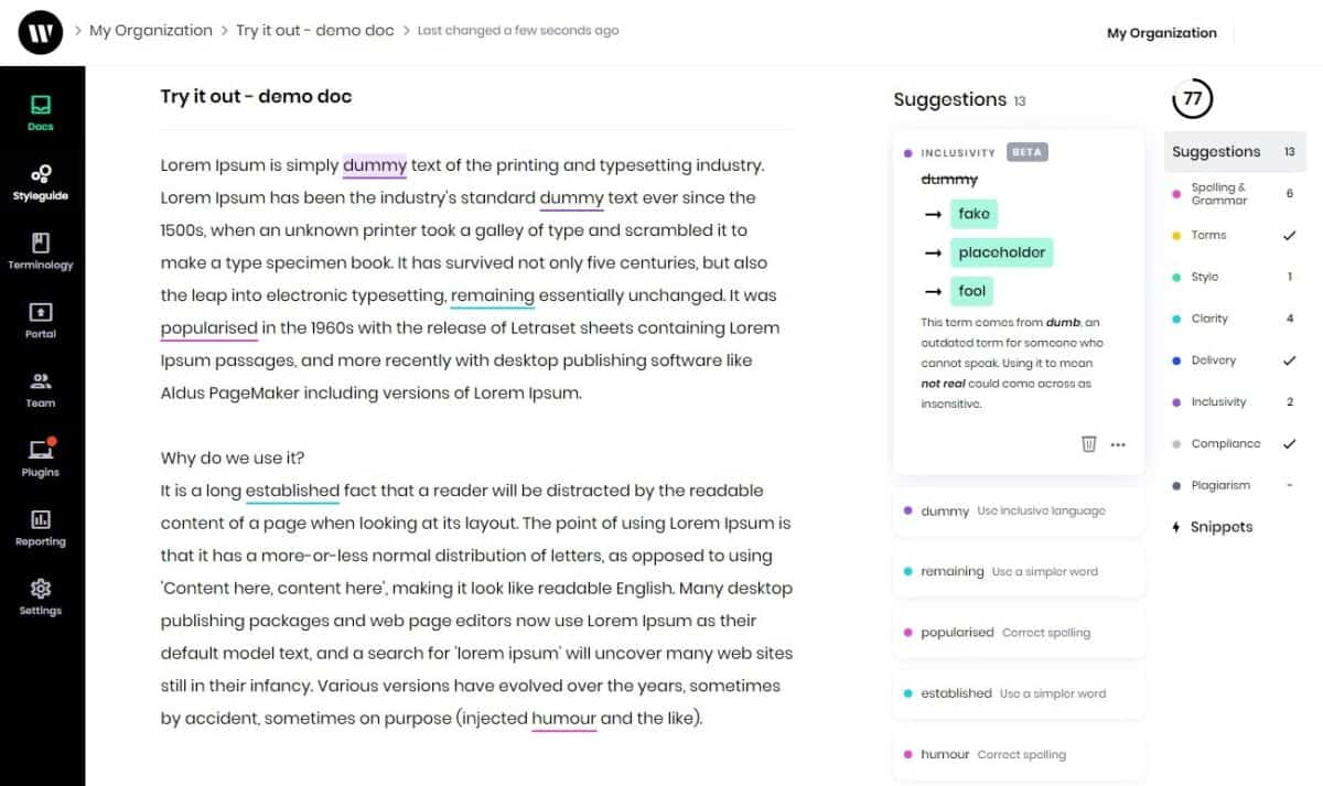 writer grammar checker interface